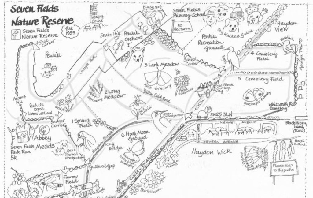 Artist impression of Seven Fields Nature Reserve in the style of hand drawn black and white map